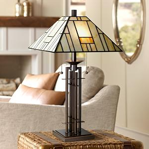 Infuse Your Home With Artful Design And Classic Character With This  Bronze Finished Wrought Iron Table Lamp With A Tiffany Style Glass Shade.