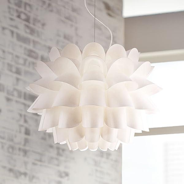 Euro Chandelier Lighting: Possini Euro Design White Flower Pendant Chandelier