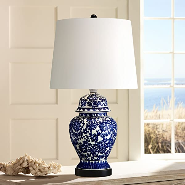 Asian Table Lamp Temple Porcelain Jar Blue Floral White