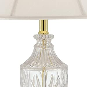 Traditional Table Lamp Cut Glass Urn Brass White Cream