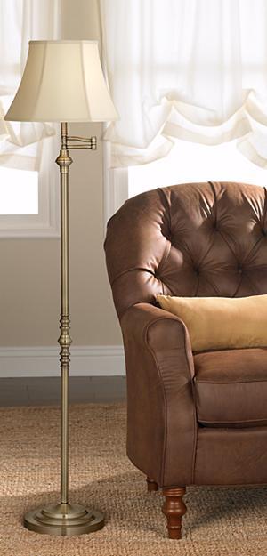 Montebello Collection Antique Brass Swing Arm Floor Lamp ...