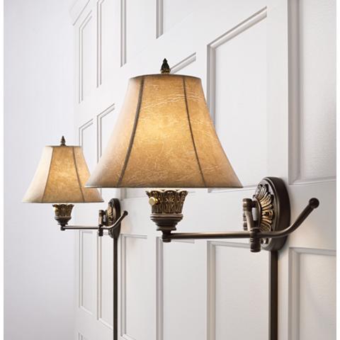 Rosslyn Swing Arm Wall Lights Plug in Set of 2 Lamps ...