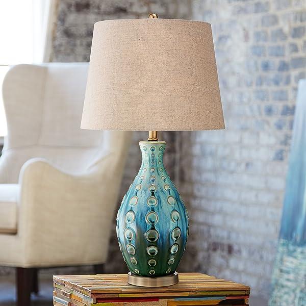 Mid Century Modern Table Lamp Vase Teal Handmade Tan Linen