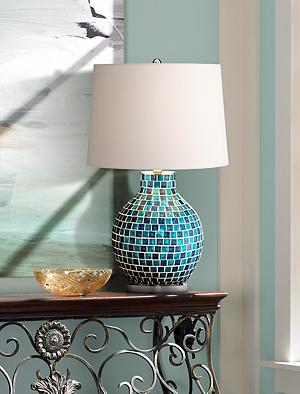 This Eye Catching Blue Glass Mosaic Lamp Can Double As A Piece Of Art In  Your Home. Teal Glass Mosaic Tiles Cover The Jar Style Base That Is Topped  By A ...