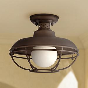 This outdoor ceiling light from the Franklin Park collection by Franklin Iron Works is perfect for vintage industrial rustic or cottage-style architecture. & Franklin Park Metal Cage 12