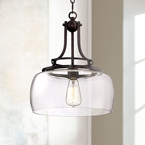 Charleston 13 1 2 Quot Wide Clear Glass And Bronze Pendant Light Franklin Iron Works Amazon Com