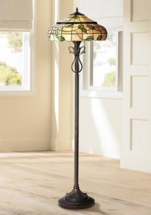 Vivian green leaf tiffany style art glass floor lamp amazon add some nature inspired beauty to your space with this beautiful tiffany style floor lamp the bronze finish lamp features a cream art glass shade with a aloadofball Choice Image