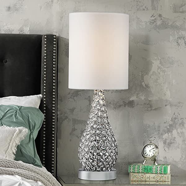 Kasey Modern Accent Table Lamp Crystal Bead Silver Gourd
