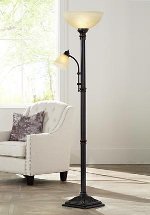 Garver bronze torchiere floor lamp with reader arm amazon get both ambient and task lighting at the same time with the oil rubbed bronze finish garver torchiere floor lamp the floor lamp has a classic silhouette mozeypictures Images