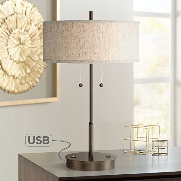 Nikola Modern Table Lamp with Hotel Style USB and AC Power Outlet in Base Bronze Fabric Drum Shade for Living Room Bedroom Office - 360 Lighting