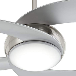 52 innovation brushed nickel led ceiling fan amazon opt for a statement making ceiling fan with this chic modern design its center led light is beautifully trimmed by brushed nickel finish framing and mozeypictures Images