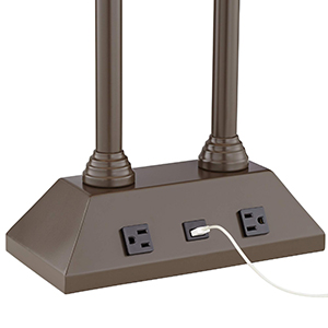 abounds with this stylish desk lamp boasting a usb outlet perfect for powering a smart phone or tablet the base of the lamp is further