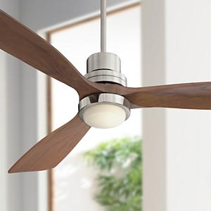 52 casa delta wing brushed nickel led ceiling fan amazon the delta wing ceiling fans design pairs three walnut finish solid wood blades with a brushed nickel finish motor to create an updated midcentury modern audiocablefo