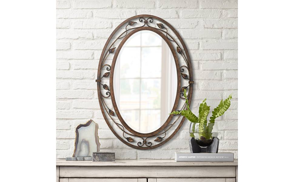 """Eden Park French Bronze 24"""" x 34"""" Oval Wall Mirror"""