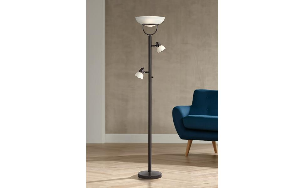 3-in-1 Design Contemporary Torchiere Floor Lamp Bronze