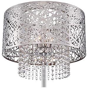 Modern Chandelier Floor Lamp Chrome Nest Metal Crystal Cascade Step Dimmer For Living Room