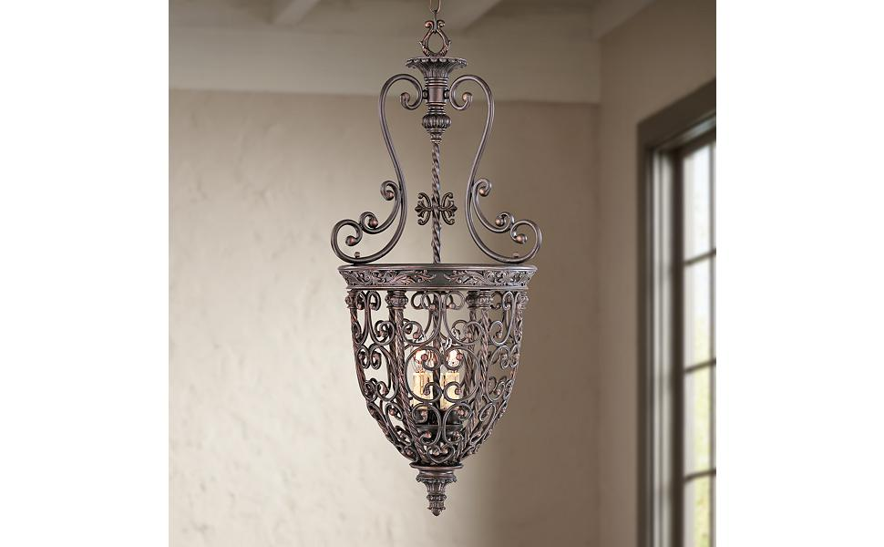 French Scroll 15 1 4 Quot Wide Three Light Iron Foyer