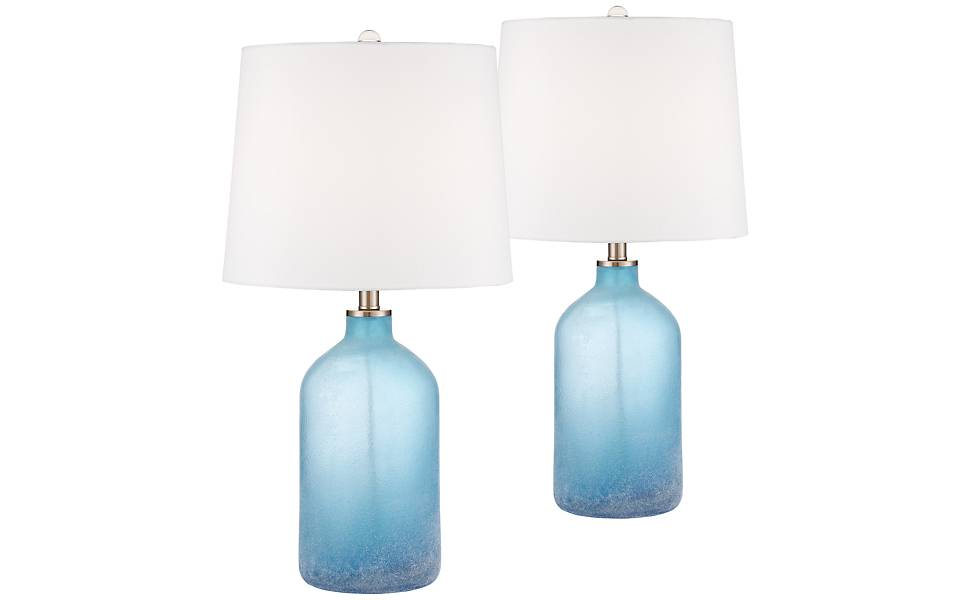 Aston Blue Frosted Glass Table Lamp Set Of 2 Amazon Com