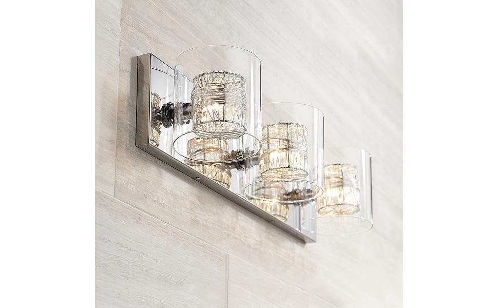 Modern Wall Light Chrome Wrapped Wire 22 Quot Wide Vanity