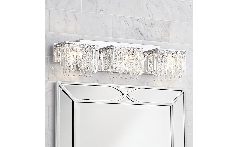 Possini Euro Crystal Strand 25 34 Wide Chrome Bath Light Vanity