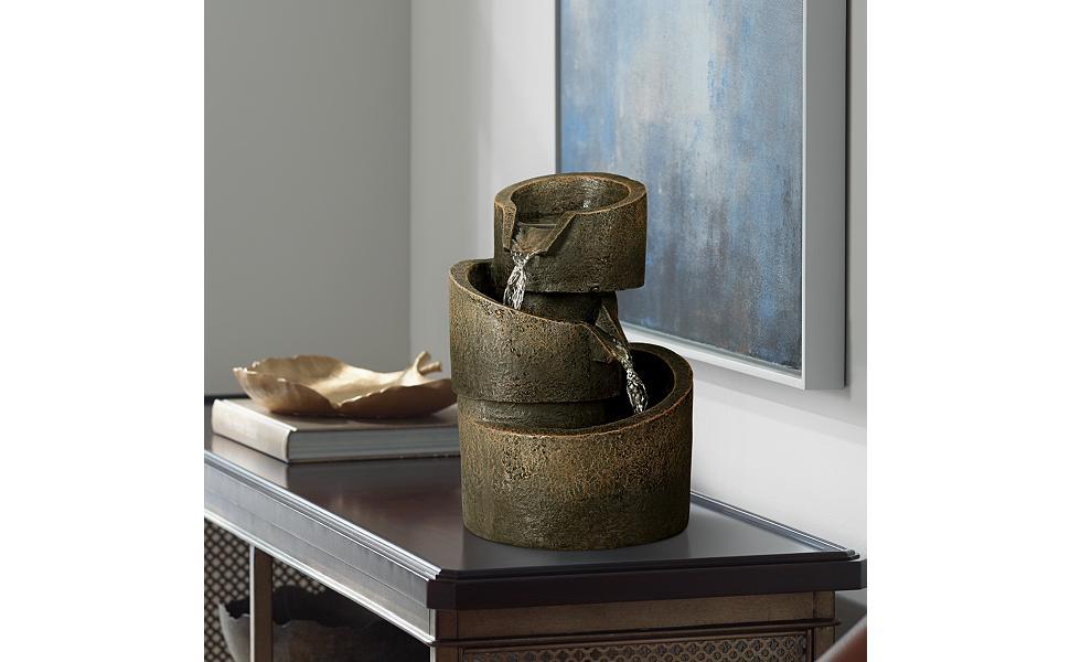 "3-Tier Bronze Stone Contemporary 9 3/4""H Tabletop Fountain"