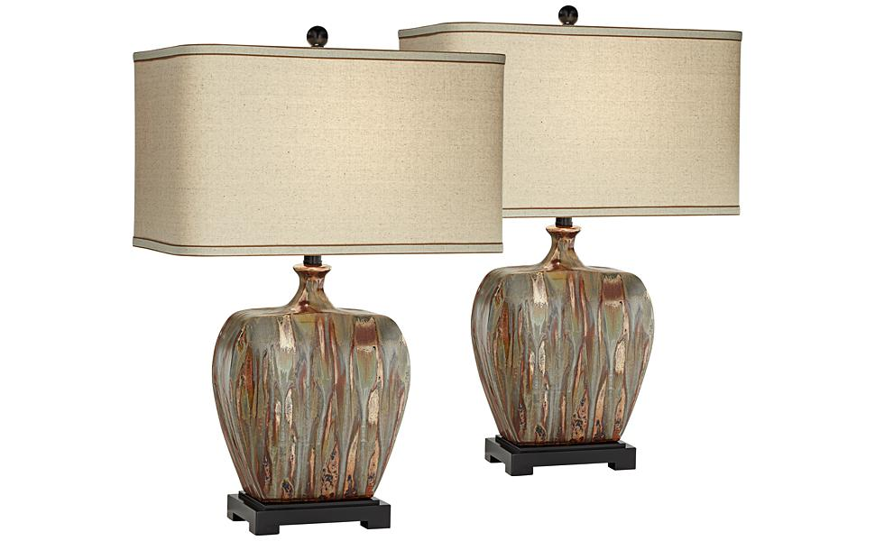Julius Modern Rustic Style Table Lamps Set Of 2 Ceramic Copper Drip Rectangular Fabric Shade Decor For Living Room Bedroom House Bedside Nightstand Home Office Reading Family Possini Euro Design