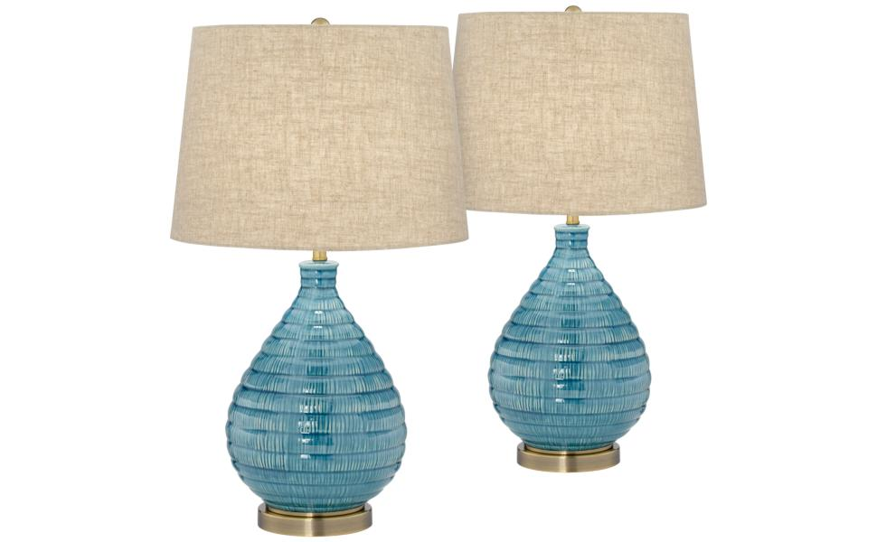 Kayley Blue Ceramic Table Lamp Set Of 2 Amazon Com