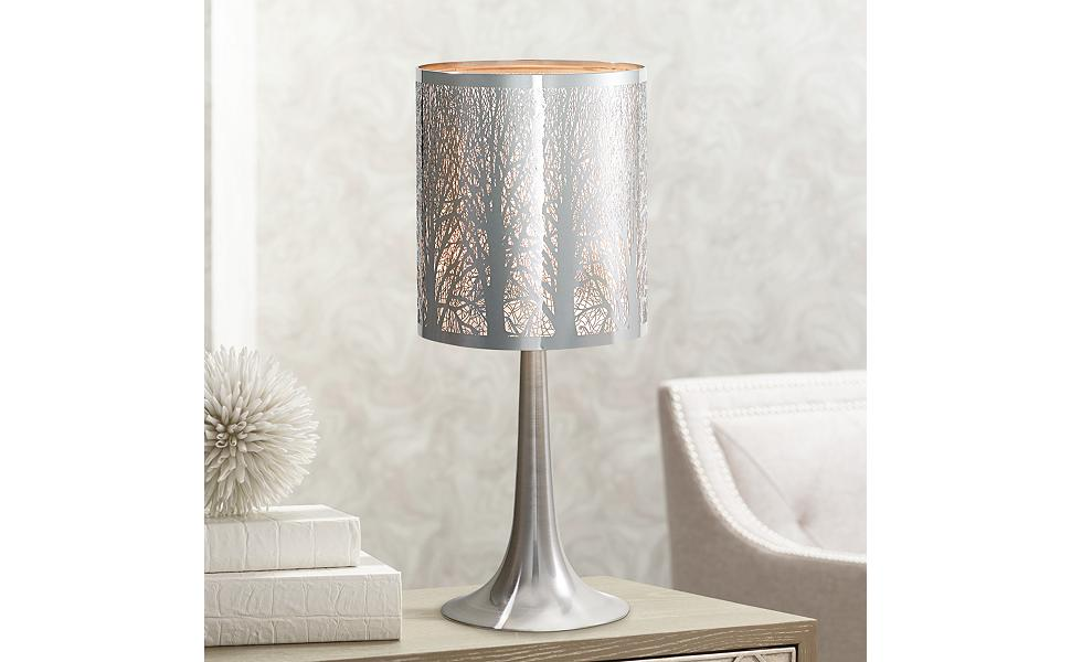 Light Blaster Modern Accent Table Lamp 19 High Chrome Solid Metal