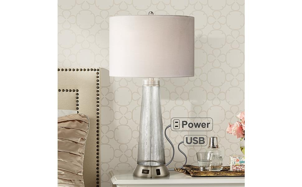 Prime Hamish Modern Table Lamp With Usb And Ac Power Outlet In Base Ribbed Glass White Drum Shade For Living Room Family Possini Euro Design Download Free Architecture Designs Embacsunscenecom