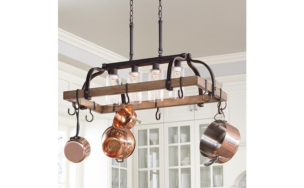 """Eldrige 36 1/2"""" Wide 4-Light Bronze Pot Rack Chandelier ..."""