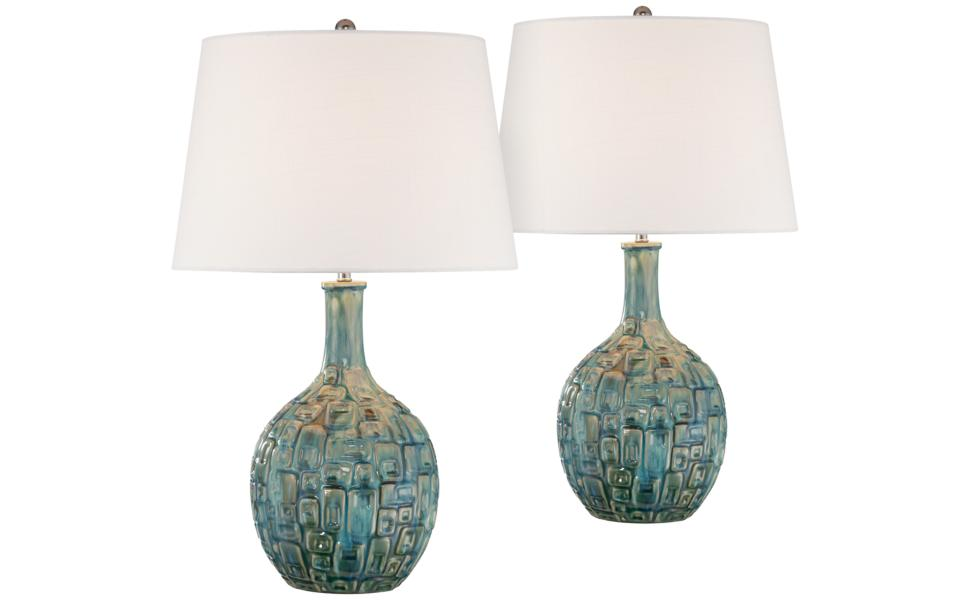 Mid Century Modern Table Lamps Set Of 2 Ceramic Teal Glaze