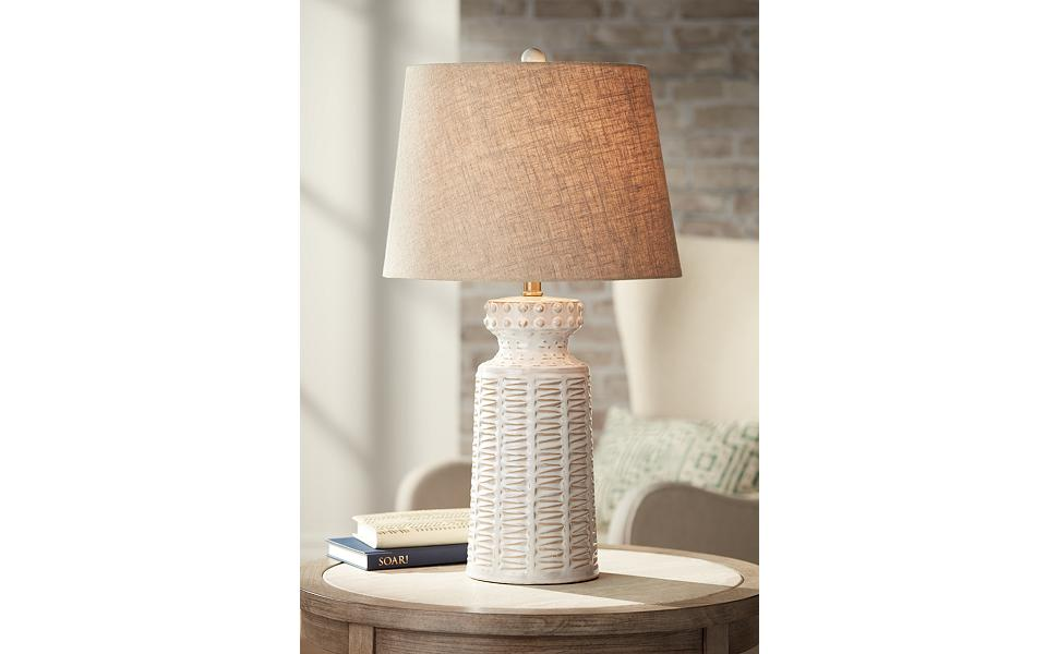 Helene Coastal Country Cottage Table Lamp Ceramic Rustic Cream White Glaze Linen Tapered Drum Shade Decor For Living Room Bedroom House Bedside Nightstand Home Office Family 360 Lighting