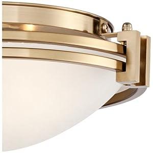 "Possini Euro Deco 12 3/4"" Wide Warm Brass Ceiling Light"