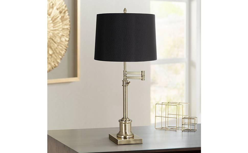 Westbury Black Drum Shade Brass Swing Arm Desk Lamp 360 Lighting