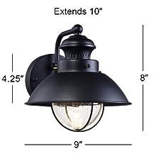 "Fordham 8"" High Black LED Outdoor Wall Light"