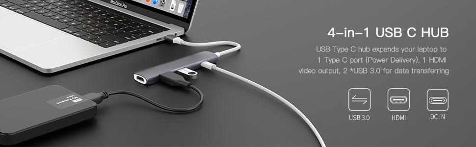 4 in 1 USB C HUB