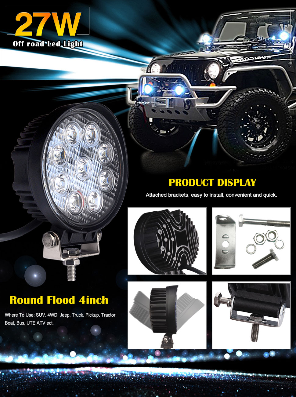 Amazon led light bar ledkingdomus 4x 27w 4 led light pod flood multipurpose led light barwide applications aloadofball Images