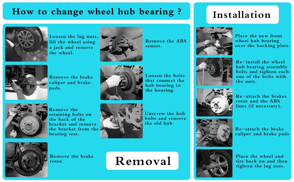 Aurora Century 513121 x 2 Front//Rear Wheel Hub and Bearing Assembly Bonnevile Impala 5 Lug W//ABS LEDKINGDOMUS Wheel Hub Bearing Compatible for Allure