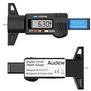 Juntful Digital Car Tyre Tire Tread Depth Gauge Meter Measurer Tool Caliper Thickness Gauges Tread Brake Pad Shoe Tire Monitoring System