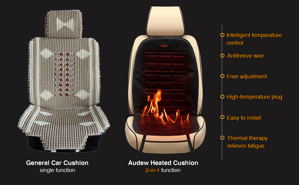 Festnight Car Heated Seat Cushion 12V Car Seat Winter Warmer Cover Chair Heating Heater Pad Single