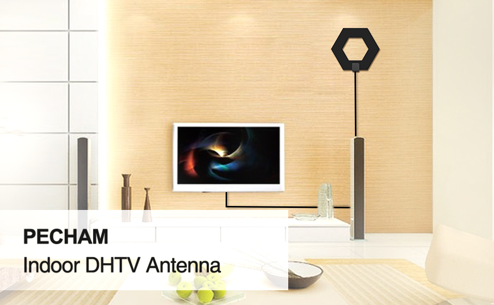 TV Antenna, STANBOW HDTV Antenna for Digital TV Indoor 50 Mile Range with  Amplifier and 10 Feet High Performance Coaxial Cable (BLACK)