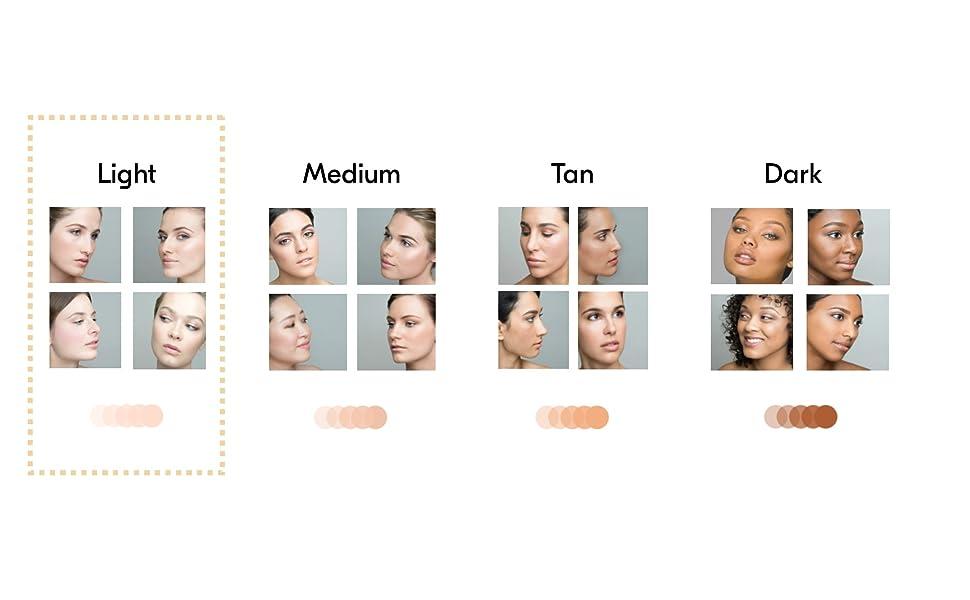 Light airbrush makeup kit shade range