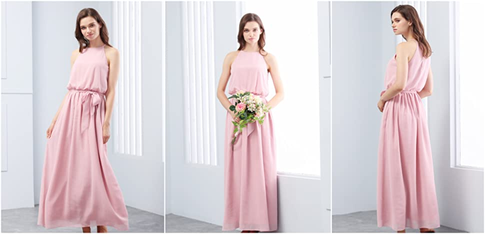 Gardenwed Flowy Halter Long Bridesmaid Dresses Simple Boho
