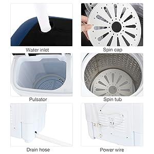 Amazon.com: KUPPET - Lavadora portátil compacta de dos tubos ...