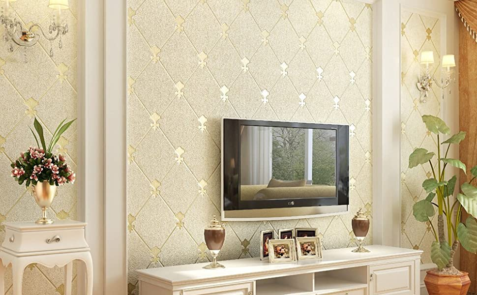Qihang European Modern Simple 3d Non Woven Imitation Deerskin Wallpaper Living Room Tv Background Diamond Lattice Pattern Wall Paper Roll