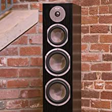 3 way floor standing speakers, home floor speakers, home audio speakers, oak floor standing speakers
