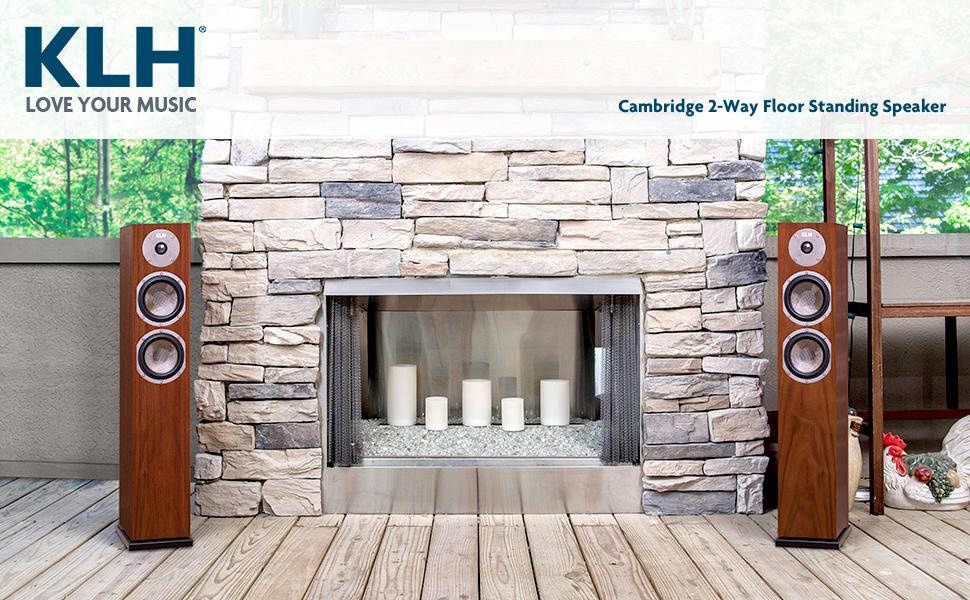 KLH Cambridge Floor Standing Speakers by Fireplace