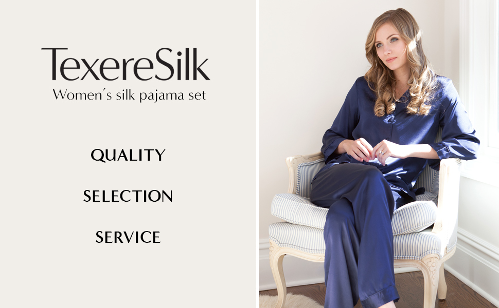eaf6e22b263f TexereSilk Women s 100% Silk Pajama Set - Luxury Sleepwear Pjs ...
