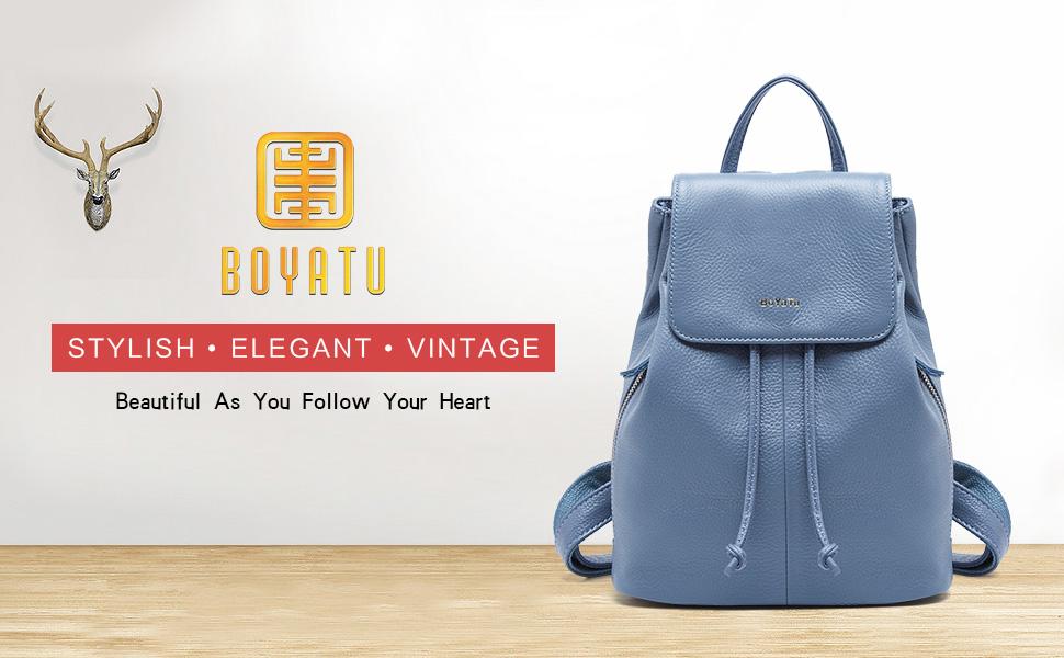 d3805f6c8fc BOYATU Genuine Leather Mini Backpacks for Women Elegant Ladies Purse  Fashion Bag