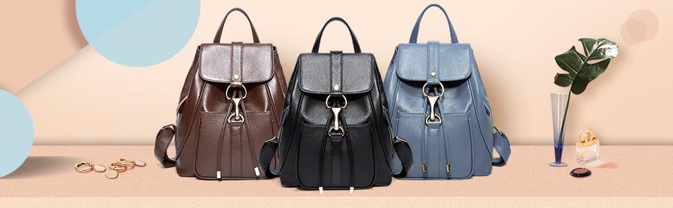 f3e89274790e BOYATU Real Leather Backpacks Purse for Women Ladies Fashion Travel  Shoulder Bag